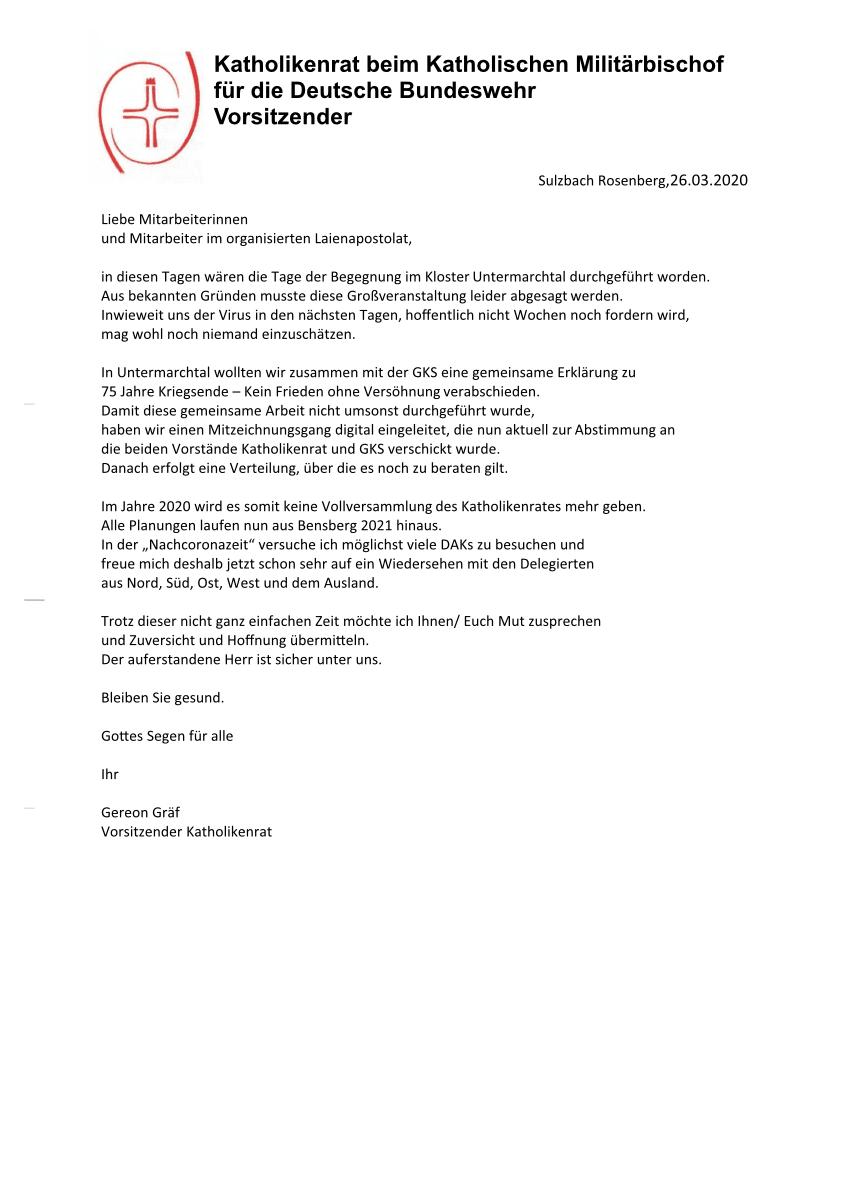 """""""Schreiben an die Mitarbeiterinnen und Mitarbeiter im organisierten Laienapostolat"""""""